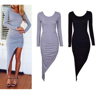 grey dress long sleeve dress little black dress backless backless dress draped assymetrical assymetrical dress ruched sides ruched dresses