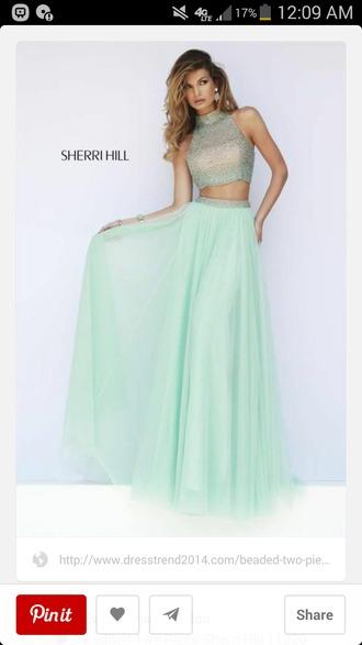 dress teal dress blue green dress two peice dress homecoming prom dress