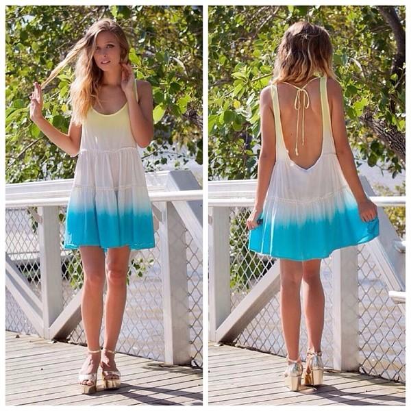 dress dip dye dress white yellow blue summer dip dyed summer dress open back