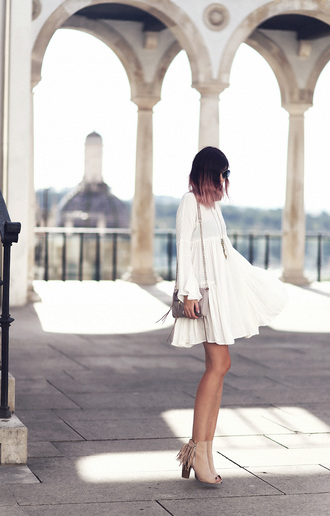 dress bell sleeve dress bell sleeves white dress short dress summer dress summer outfits shoes high heels nude shoes bag romantic dress