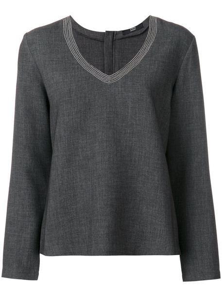 Steffen Schraut blouse women spandex grey top
