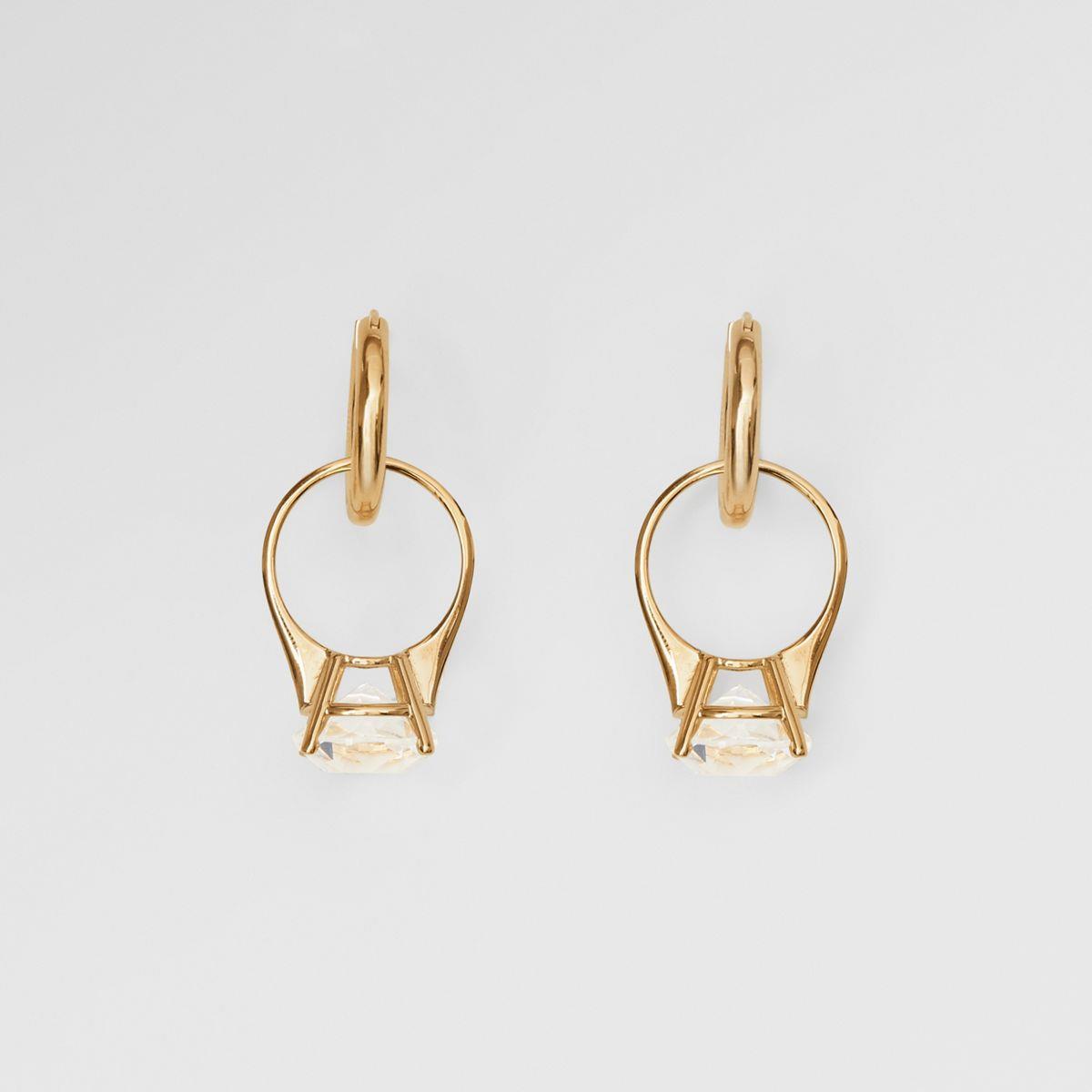 Crystal Ring Detail Gold-plated Hoop Earrings