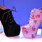 Schuh high heel platform boots velvet pink flowers whisty | whisty