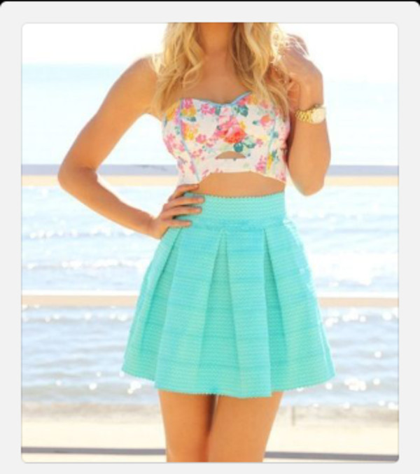 Shirt skater skirt crop tops summer outfit fashion cute dress cute skirt jewelry ...