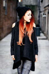 le happy,leggings,sweater,cut-out shoulder sweater,black sweater,beanie,black beanie,orange hair,printed leggings