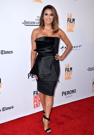 dress strapless strapless dress black dress sandals eva longoria shoes