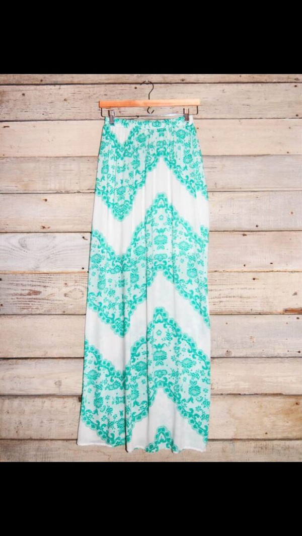 skirt ceveron blue white blue and white maxi skirt summer cute chevron