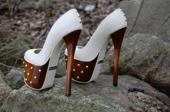 shoes studded shoes high heels white brown high heels white high heels wood platform heels spikes. white wood