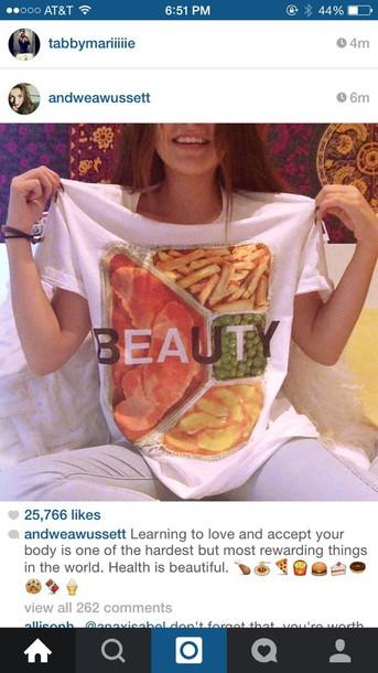 shirt white t-shirt food graphic tee