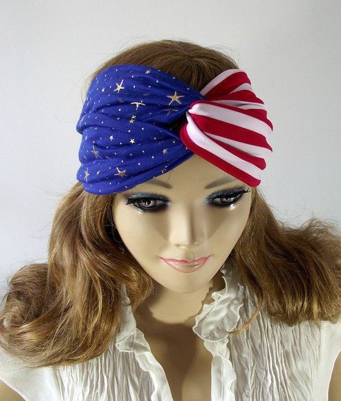 american flag hair accessories patriotic headband hair band striped headwrap turban 4th of july clothing jersey headband