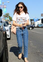 shoes,flats,ballet flats,lily collins,streetstyle,top,jeans,butterfly