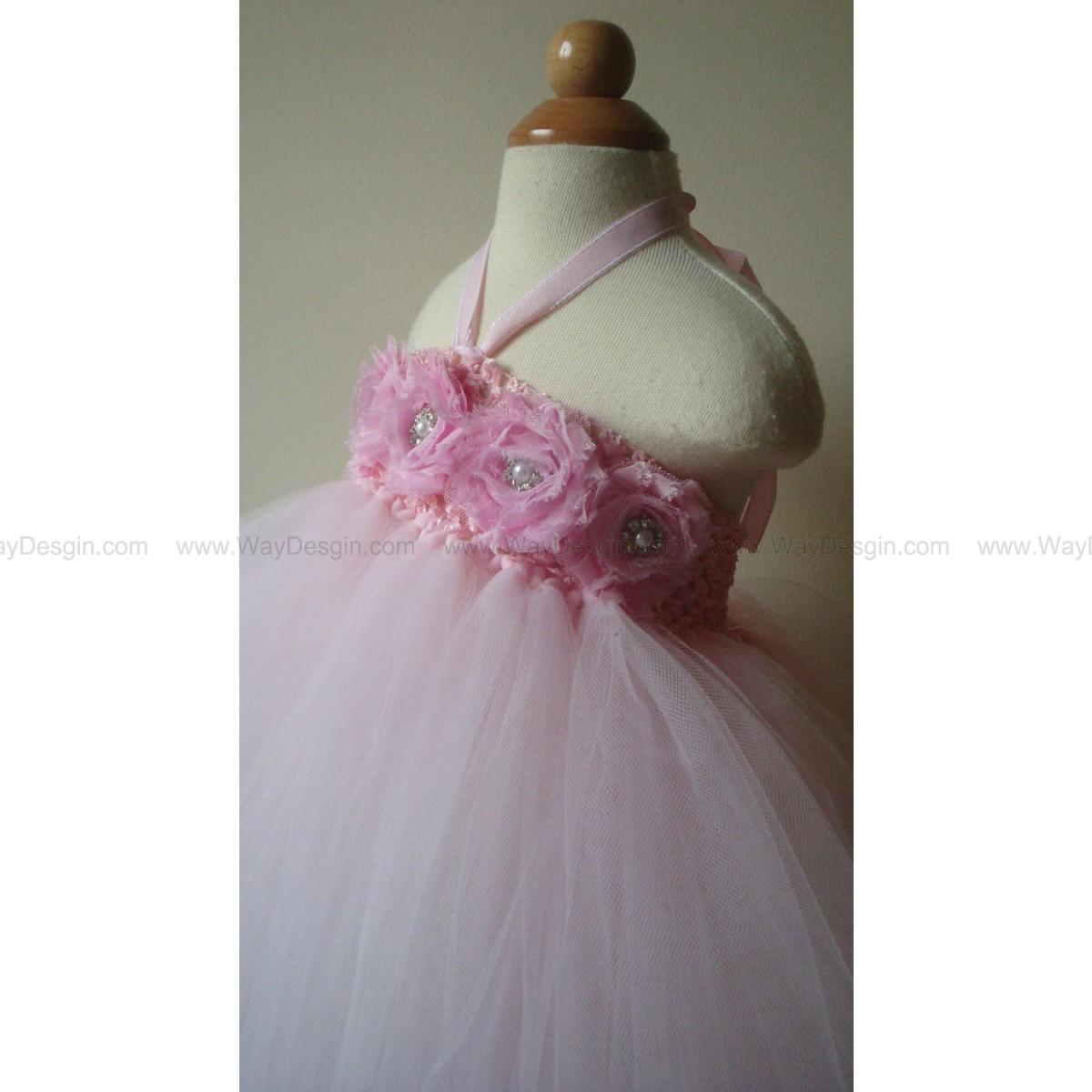 Flower girl dress, light pink tutu dress, roses, baby tutu dress, toddler tutu dress, newborn