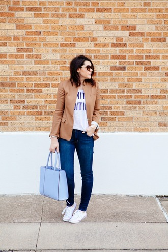 kendi everyday blogger jacket light blue blue bag white t-shirt handbag camel t-shirt jeans bag sunglasses jewels pastel bag