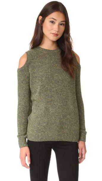 Rebecca Minkoff Page Cold Shoulder Sweater - Light Olive