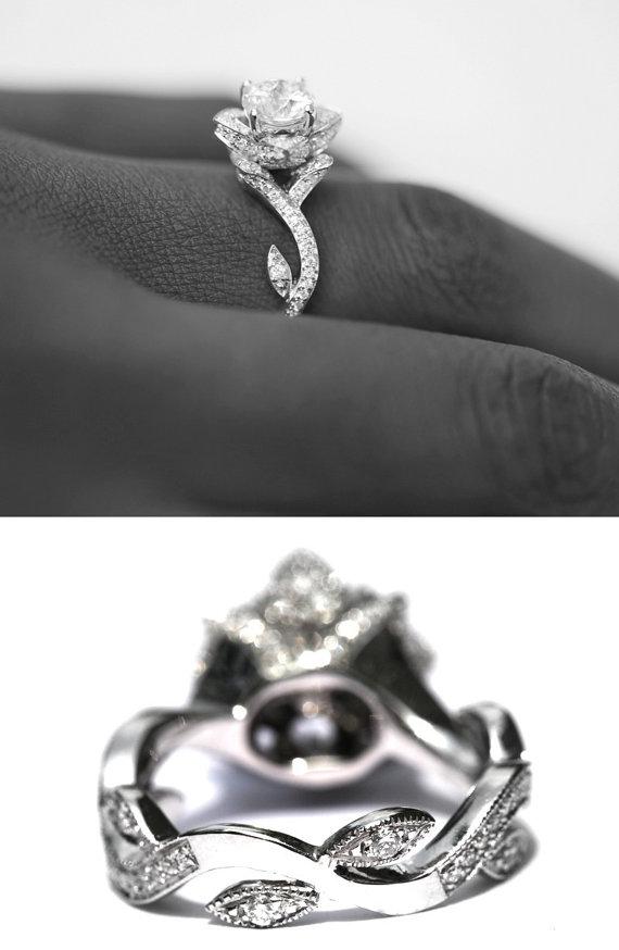 Milgrain flower rose lotus diamond engagement ring
