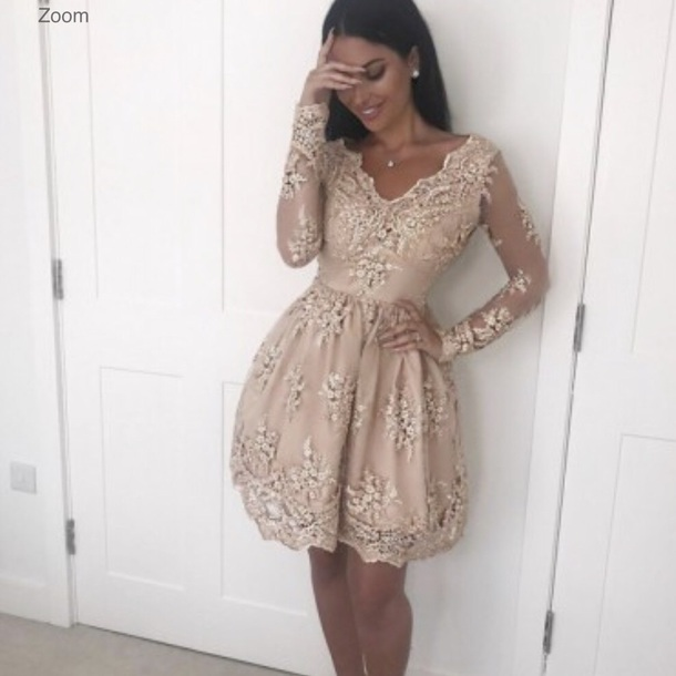dress nude dress homecoming dress lace champagne long sleeves smart short