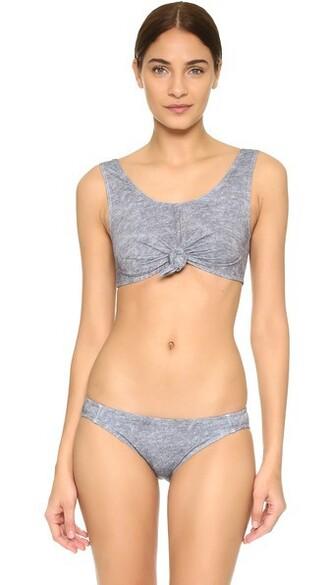 bikini bikini top grey swimwear