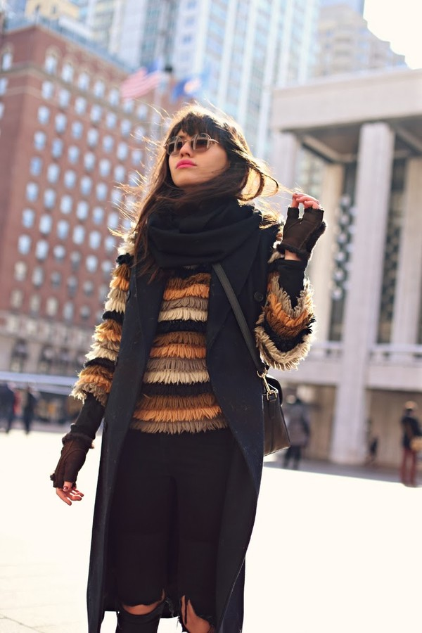 natalie off duty sweater jacket jeans scarf sunglasses bag shoes