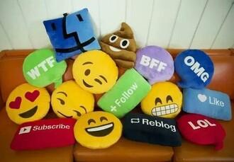 home accessory pillow emoticons emoji print reblog youtube like lol bedroom funny