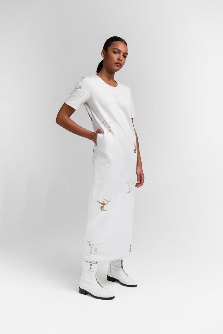 Marshall dress in embroidered fleece   Heimstone
