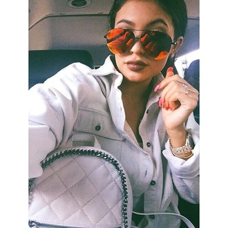 sunglasses kylie jenner jewels jewelry kylie jenner jewelry ring bling kylie jenner rings keeping up with the kardashians celebrity style dress red orange mirrored sunglasses aviator sunglasses oversized sunglasses rings and tings