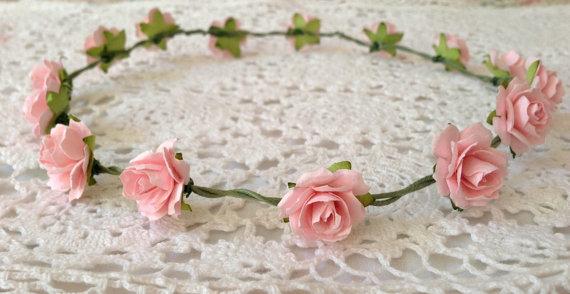 Corona floreale rosa di cuteaddicts su etsy