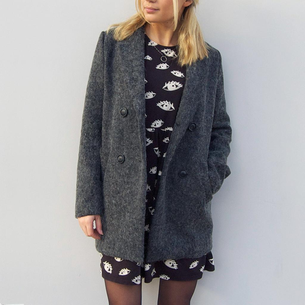 Light speckled grey woollen boyfriend blazer coat by little by little
