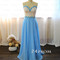 Sweetheart a-line beaded blue long prom dress, formal dress - 24prom