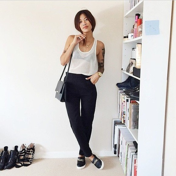 black bag top white top black trousers rolex black and white shoes