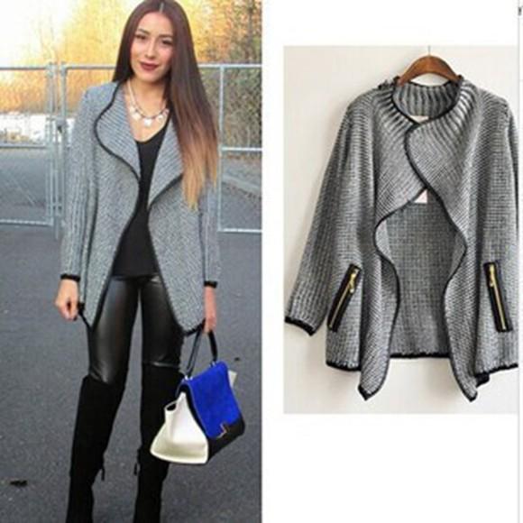 pocket loose women zipper cardigan grey winter sweater knitted cardigan