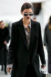 sunglasses,dior sunglasses,aviator sunglasses,mirrored sunglasses,silver sunglasses,coat,black coat,shirt,black and white shirt,kendall jenner,celebrity style,celebrity,model off-duty,model