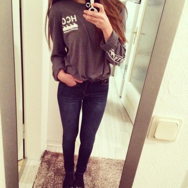 shirt hollister grey sweater