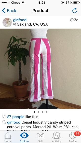 jeans white pink pants stripes striped pants