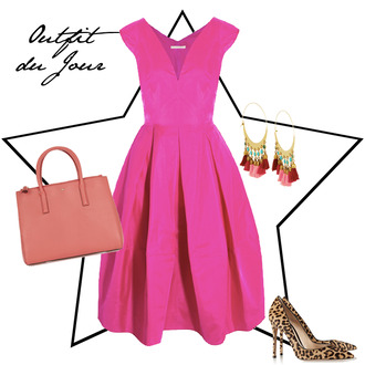 fashion foie gras blogger pink dress earrings leopard print high heels handbag