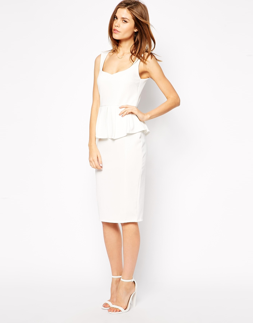 ASOS Texture Peplum Sweetheart Bodycon Dress at asos.com