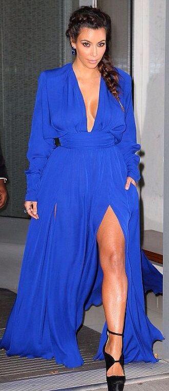 dress kim kardashian balmain blue dress royal blue