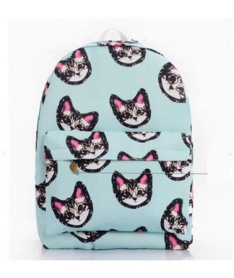 bag backpack cats print backpack back to school fashion style cats cute kawaii teenagers it girl shop cat bag