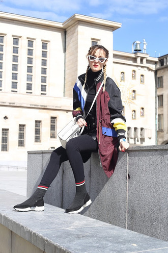 from brussels with love blogger jacket blouse skirt tights shoes bag sneakers spring outfits white bag bomber jacket