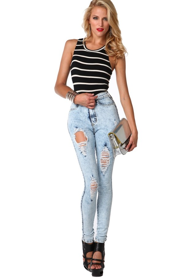 High Waist Distressed Jeans in Light Blue