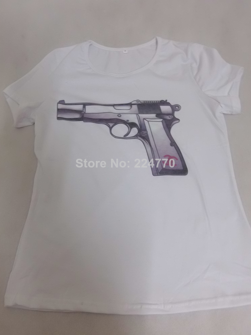 Wholesale Product Snapshot Product name is 2014 New Arrive Gun Print T Shirt for Women, Comfortable Wear Short Sleeve Gun Printed Top Tee