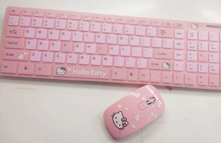 Wireless Hello Kitty Keyboard Mouse Free Shipping Ergonomically Designed PC Peripherals Adorable Pink Cartoon Keyboard-in Keyboards from Electronics on Aliexpress.com