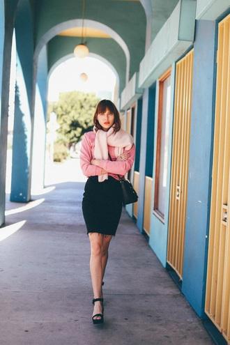 natalie off duty blogger sweater skirt shoes jacket dress black bag black skirt pink sweater sandals high heel sandals spring outfits