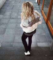 coat,tumblr,faux fur coat,fur coat,pants,black pants,boots,white boots,pointed boots,pointed toe boots,ankle boots,fur jacket,wavy hair