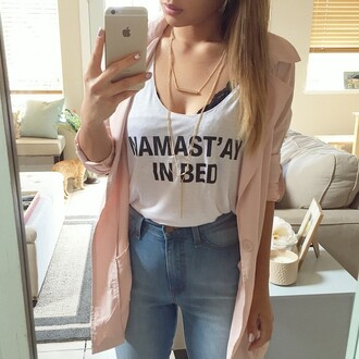 jewels layered necklace necklace gold shirt coat pink girly lovely white top tank top jewelry gold jewelry namastay in bed namaste blouse gold necklace layered bar necklace