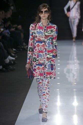 coat pants armani runway london fashion week 2017 colorful
