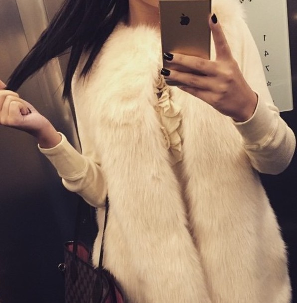 coat gilet white fur fur coat white fur fluffy