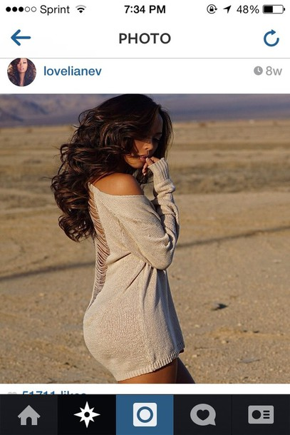 sweater lovelianev curly hair sweater dress body curvy ripped instagram model grey