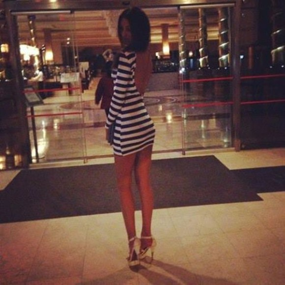 blue stripes white blue and white striped dress short dress mini dress backless dress backless striped dress blue and white dress