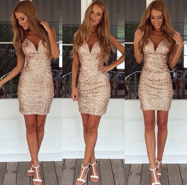 Alluring low cut sequined dress