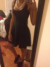 dress,black,little black dress,basic,tank dress,necklace,silver necklace,chain,double chain necklace,pattern heels